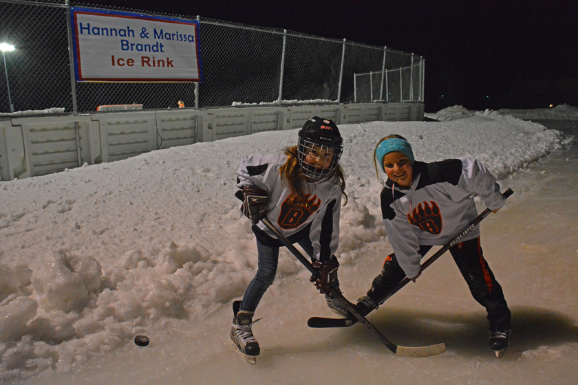 Kylee Knight and Lily  Peltier of the White Bear Lake Bear's hockey team, tried out the newly-dedicated Hannah and Marissa Brandt Ice Rink in Vadnais Heights, Minnesota.