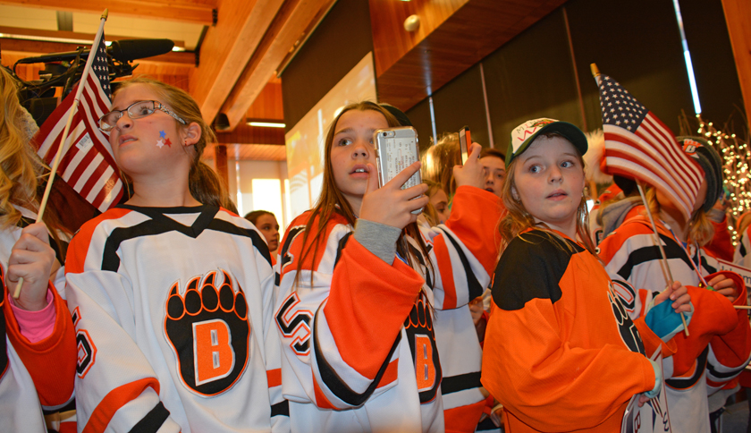 White Bear Lake, Minnesota, elementary school girl's hockey team members greet the Brandt sisters at their welcome home party in Vadnais Heights, Minnesota.