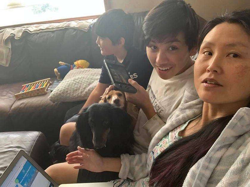 """COVID-19: Laura Sharp getting """"assistance"""" from her dogs and two of her four children while working at home."""