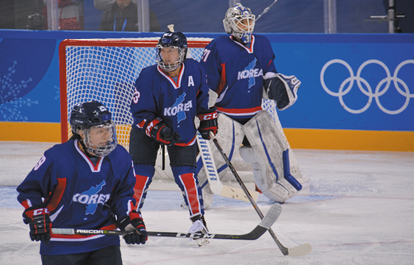 Marissa Brandt (center) plays with Team Korea against Japan in the 2018 Winter Olympics in Pyeongchang, South Korea.