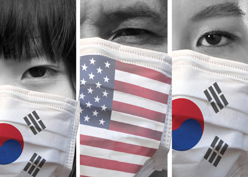 COVID-19 coronavirus in the U.S. and South Korea.  Graphic illustration by Emma Wunrow