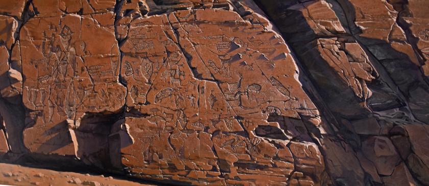 Ancient petryglyphs at Bangudae near Ulsan, South Korea.