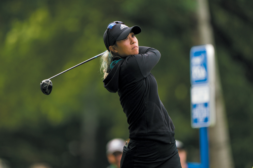 CHASKA, MN - JUNE 21: Danielle Kang hits her tee shot on 14th hole during the second round for the 65th KPMG Women's PGA Championship held at Hazeltine National Golf Club on June 21, 2019 in Chaska, Minnesota.