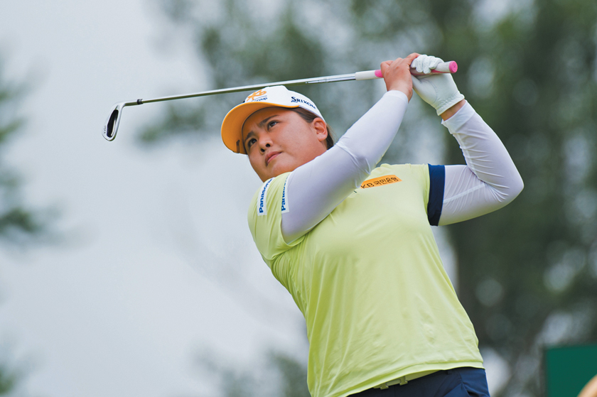 CHASKA, MN - JUNE 23: Inbee Park of the Republic of Korea hits her tee shot on the eighth hole during the final round for the 65th KPMG Women's PGA Championship held at Hazeltine National Golf Club on June 23, 2019 in Chaska, Minnesota. (Photo by Montana Pritchard/PGA of America)