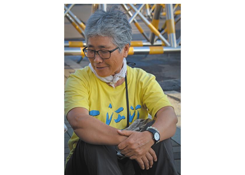 Catholic activist and Jeju native Sunyoo Jeong at the naval base in Gangjeong, Jeju island, South Korea