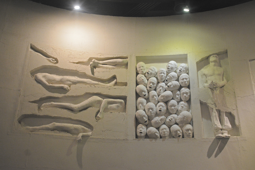 The Jeju Uprising and Dark Tours.  The Jeju Peace Museum, sculptures depict the many mass graves on Jeju island.
