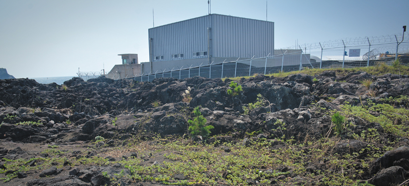A cement storage facility at the naval base in Gangjeong, Jeju island, South Korea