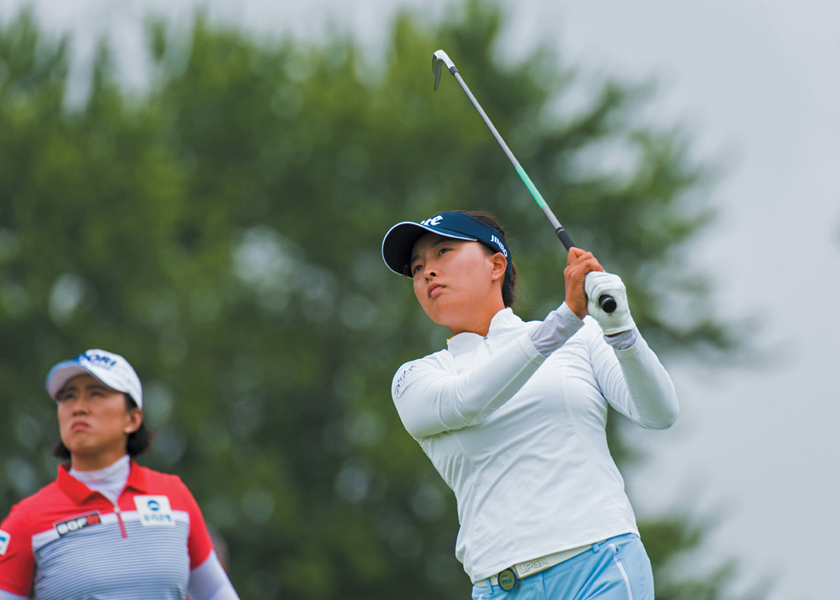 WPGA Championship in Minnesota, Jin Young Ko hits her tee shot in the final round.