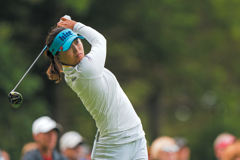 CHASKA, MN - JUNE 21: Sung Hyun Park of the Republic of Korea hits her tee shot on the 14th hole during the second round for the 65th KPMG Women's PGA Championship held at Hazeltine National Golf Club on June 21, 2019 in Chaska, Minnesota.