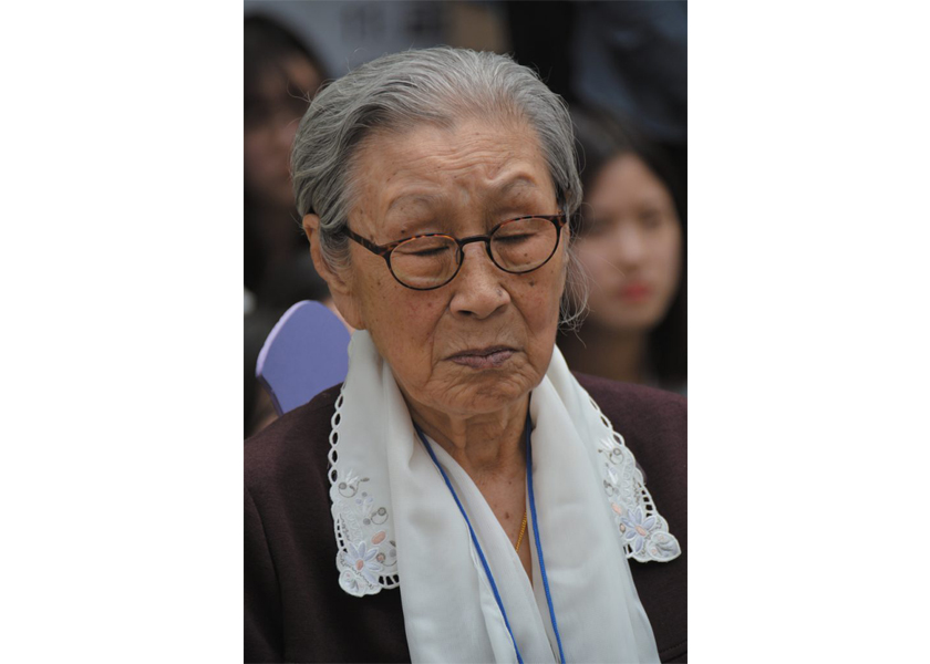 Comfort Women: Former comfort woman Kim Bok Dong at the weekly demonstration in front of the Japanese embassy in Seoul, South Korea, recenly passed away.