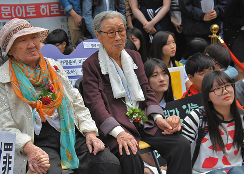 Comfort Women: Former comfort woman Kim Bok Dong at the weekly demonstration in front of the Japanese embassy in Seoul, South Korea