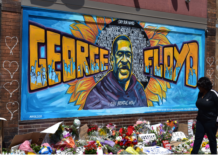 Mural of George Floyd marks the location where he was killed.