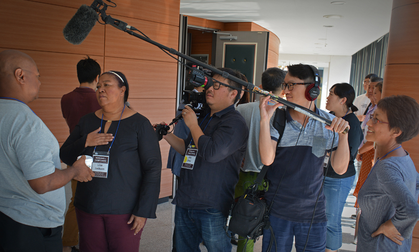 Adopted Korean Mosiac Hapa tour conference being documented by filmmaker Deann Borshay Liem.
