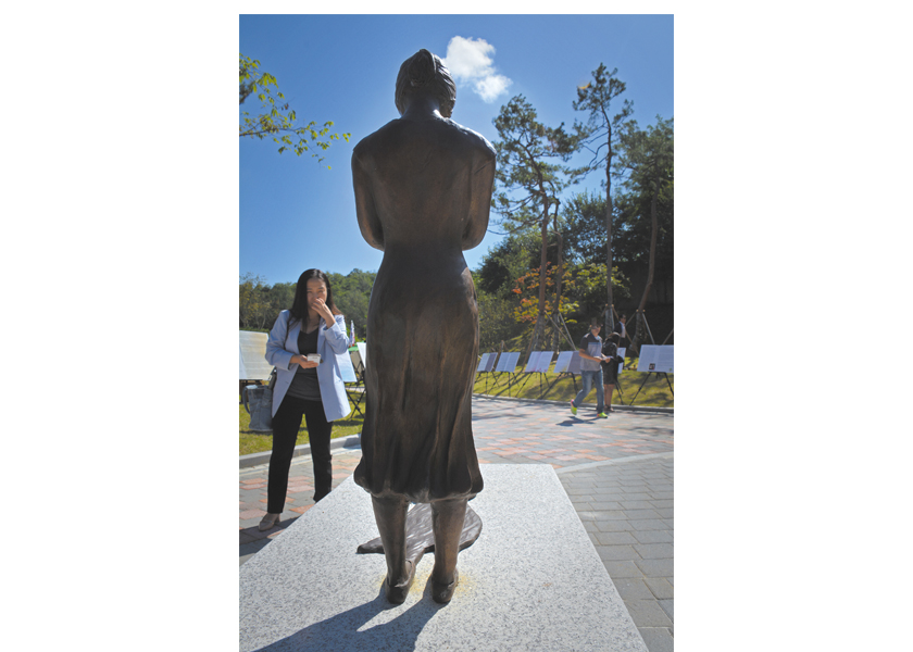 """Adopted Korean Mosiac Hapa tour: Omma Poom Park in Paju features a sculpture """"Shadow Child"""" by Wonsook Kim."""