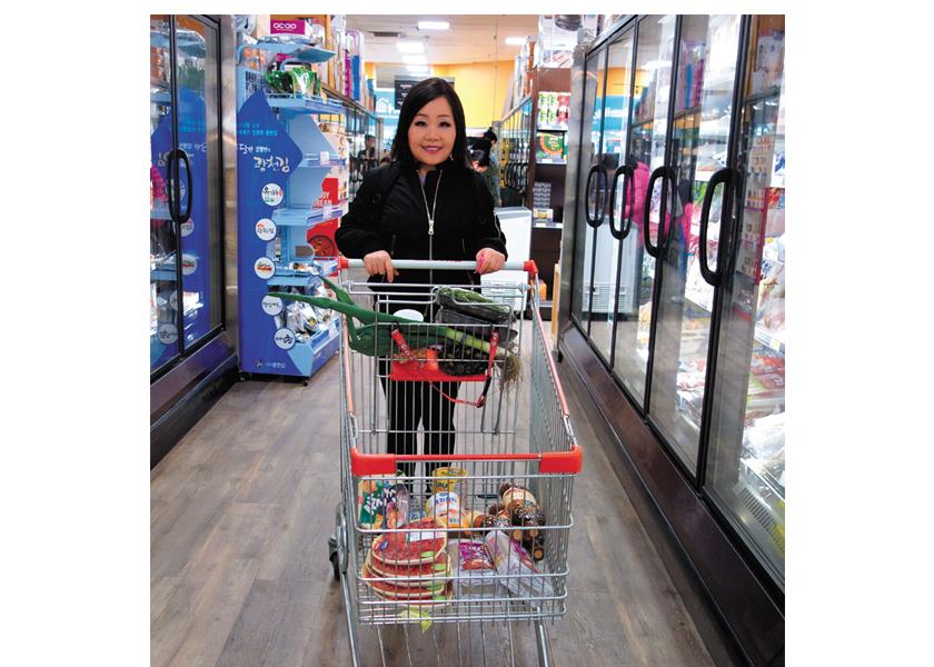 Maangchi in her element at the Korean supermarket.