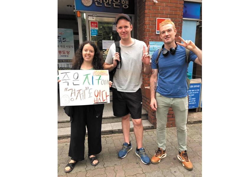 Comtemporary Rebellions podcast team: Ana Traynin, Austin Headrick and Tom Rainey-Smith, South Korea.